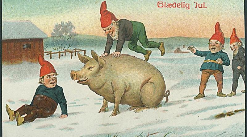 Nisser i leg med gris